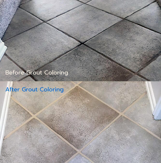 Before and After Grout Coloring